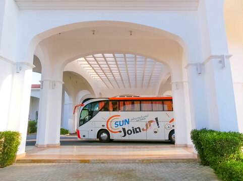 Sharm El Sheikh, Egypt - September 10, 2020: The tour bus by Join Up Tour waiting for tourists at airport of Sharm El Sheikh, Egypt
