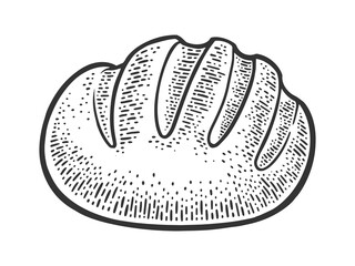Loaf of bread sketch engraving vector illustration. T-shirt apparel print design. Scratch board imitation. Black and white hand drawn image.
