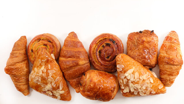 assorted of pastries isolated on white background