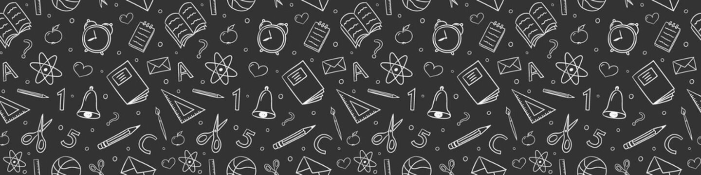 Concept of school background. Seamless pattern with doodles. Vector