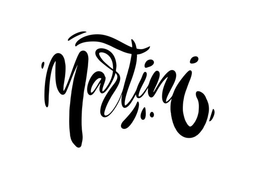 Martini black text. Modern calligraphy. Hand lettering inscription. Vector illustration.