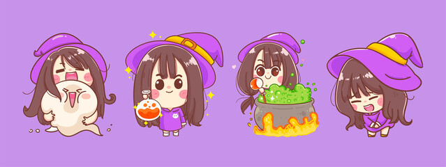Happy halloween of little witch cartoon isolated on background with character design.