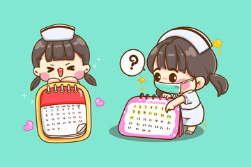 A cute young nurse pointing at the calendar to make an appointment isolated on background with character design.