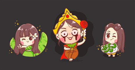 Happy halloween of thai ghost girls in traditional costume isolated on background with character design.