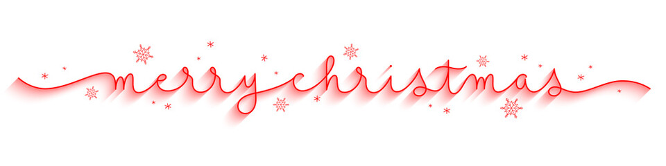 MERRY CHRISTMAS red vector monoline calligraphy banner with swashes and snowflakes