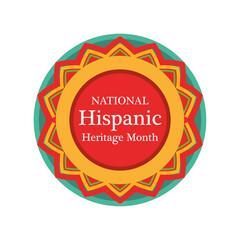Fototapeta national hispanic heritage month in seal stamp vector design obraz