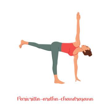 Parivrtta Ardha Chandrasana. Revolved Half Moon Pose isolated woman doing yoga on white background
