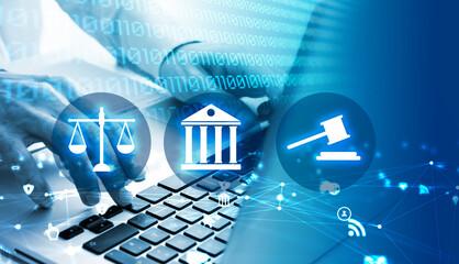 mani, scrivere, computer, giustizia