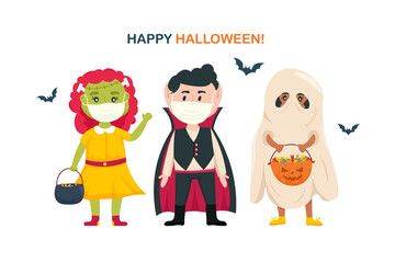 Kids in halloween costumes wearing surgical protective medical mask. New normal Halloween celebrate. COVID-19 coronavirus prevention. Vector cartoon illustration.
