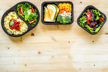 Restaurant food delivery. Take away lunch in boxes
