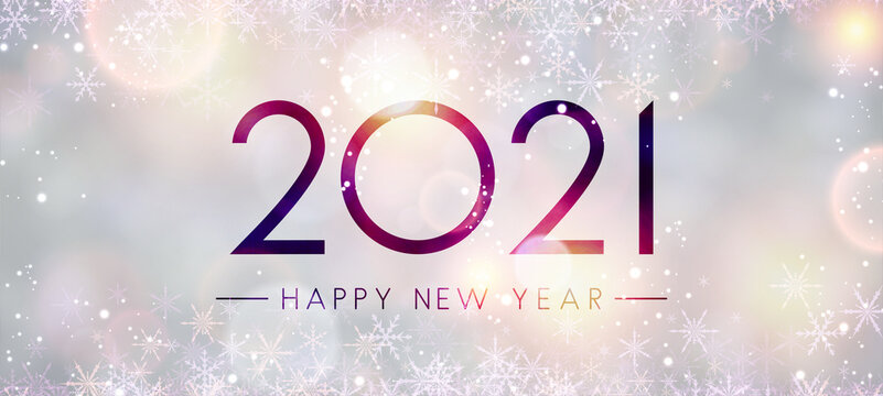2021 happy new year sign on misted glass.