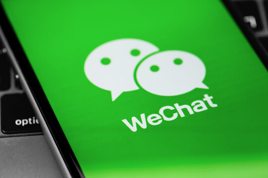 WeChat app on the screen smartphone closeup. WeChat is a mobile communication system for sending text and voice messages. Moscow, Russia - July 27, 2020