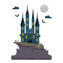 Mysterious medieval gothic castle on top of the hill. Vector cartoon illustration.