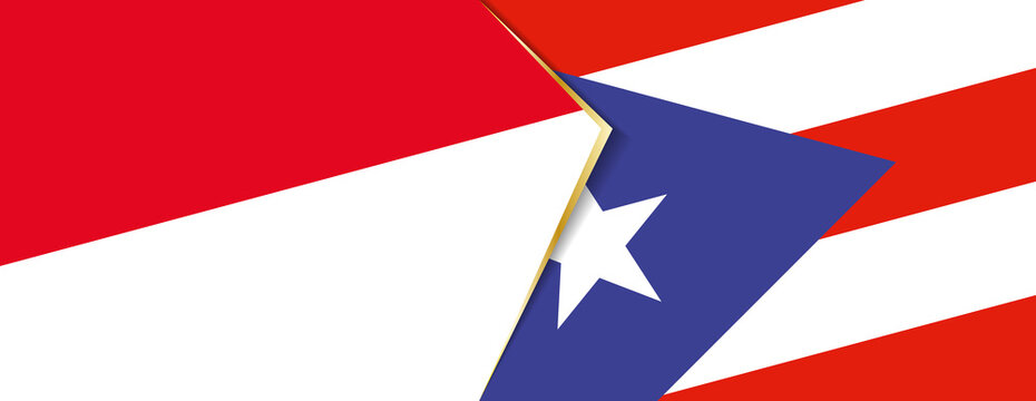 Monaco and Puerto Rico flags, two vector flags.