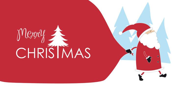 Weihnachtsmann mit großem Sack auf dem Weg Geschenke zu liefern in Schneelandschaft mit Kalligrafie Schriftzug Merry Christmas als Vektor Illustration