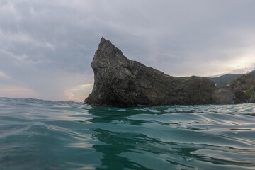 monterosso cinque terre panorama rock at sunset from the sea
