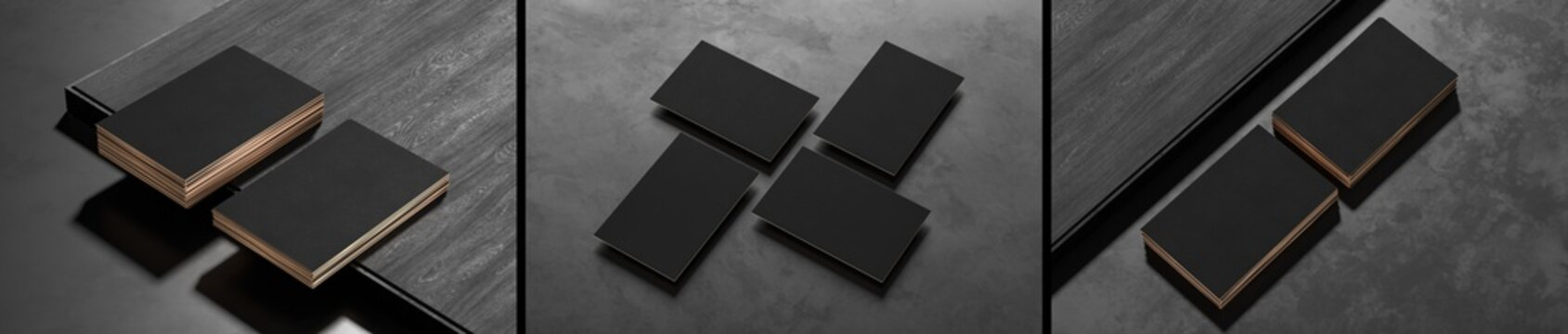 Black business card mock ups isolated on dark background. Three different business card mock ups on dark background. 3D illustration.