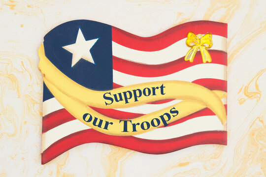 Support our Troops message with retro wood American flag