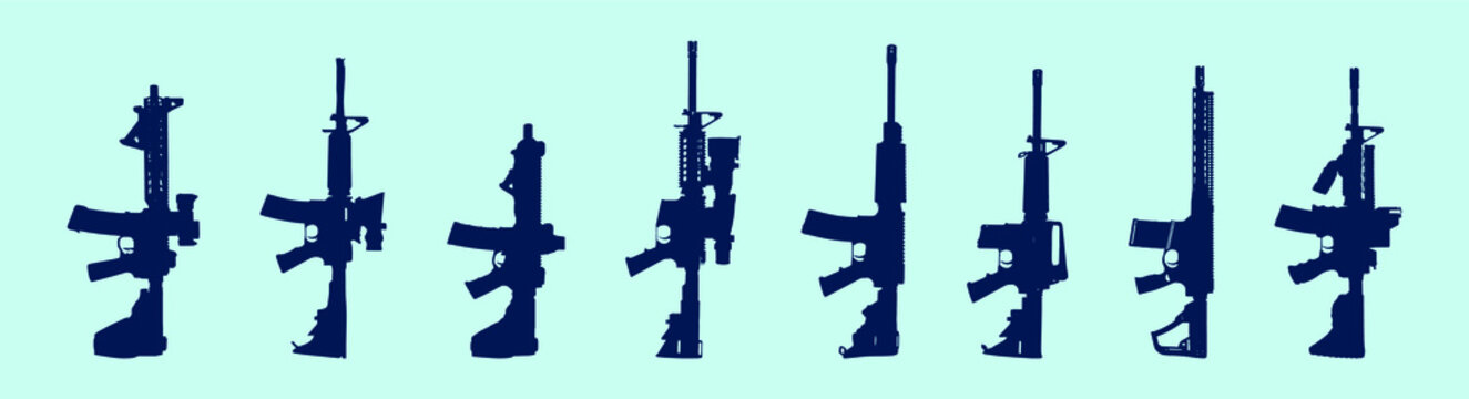 set of gun cartoon icon design template with various models. vector illustration isolated on blue background