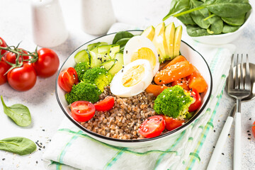 Buddha bowl with Buckwheat and vegetables.