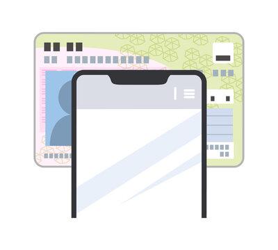 スマホでマイナンバーカードの読み取りをしているイラスト(シンプル)