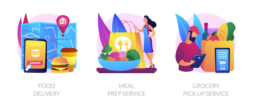 Quarantine food essentials supply abstract concept vector illustration set. Food delivery, meal prep service, grocery pick up service, product shipping during coronavirus pandemic abstract metaphor.
