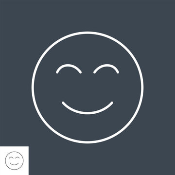Don't panic related vector thin line icon. Smiling face. Isolated on black background. Editable stroke. Vector illustration.