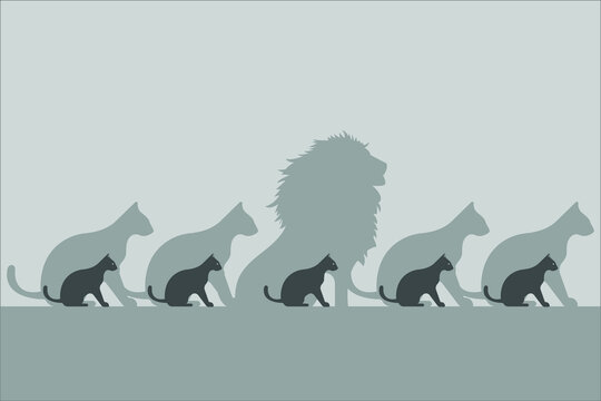Think Differently vector concept: Cat with lion shadow different from the other cats