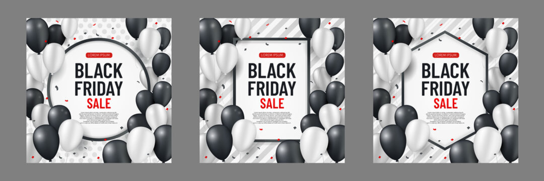 Set of black friday sale background with white and black balloons and serpentine on vertical strip background. Modern design. Universal vector background for poster, banners, flyers, card. EPS10