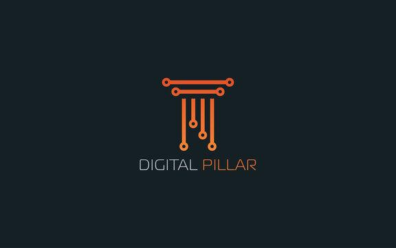 Pillar logo formed nano tech symbol in orange color