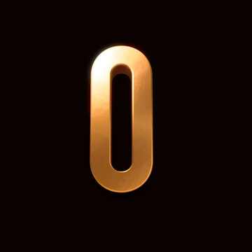 Gold font number 0 isolated on black