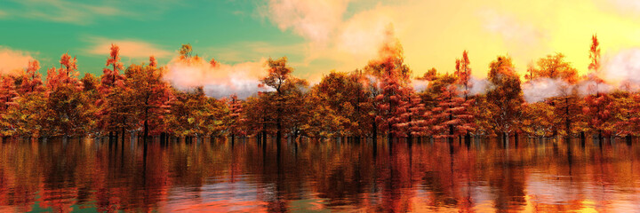 Autumn landscape, autumn forest above water