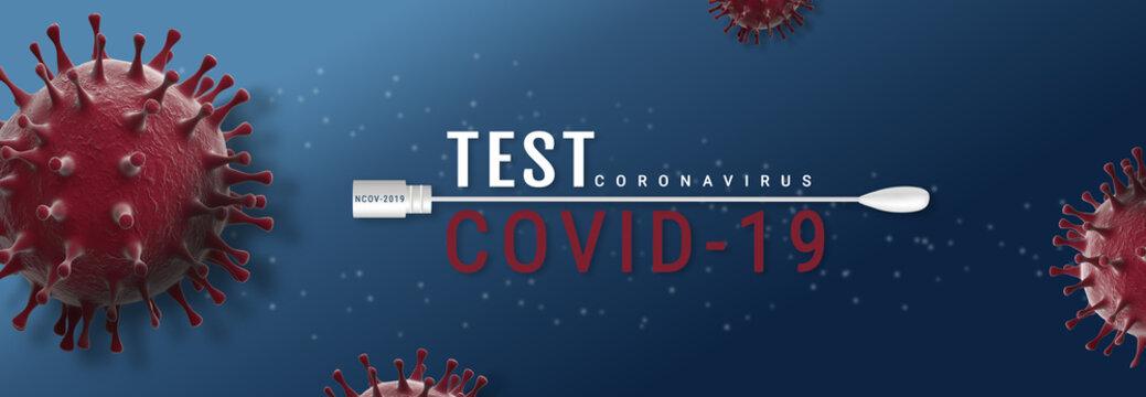 Coronavirus Covid-19 Test banner illustration - Microbiology And Virology Concept