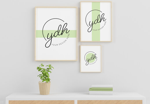 3 Blank Frame Mockups on a Wall with Plant and Books