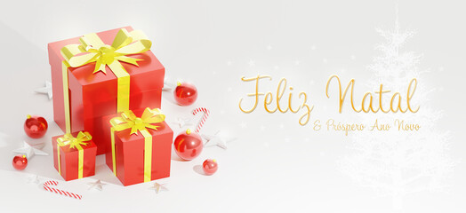 Merry Christmas and Happy New Year wishes. 3D rendering Xmas banner. Gift boxes, christmas ball, stick and stars decoration on a white background. Horizontal poster, text in Brazilian Portuguese.