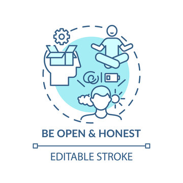 Be open and honest concept icon. Self-worth sense idea thin line illustration. Emotional and mental health issues. Truthfulness. Vector isolated outline RGB color drawing. Editable stroke