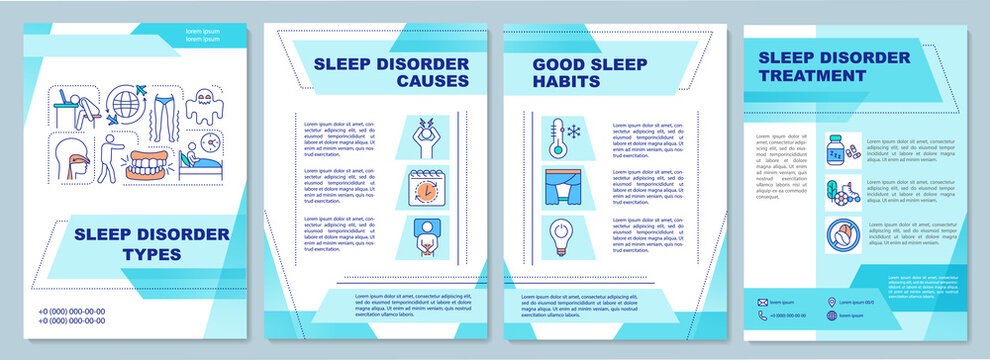 Sleep disorder types brochure template. Insomnia causes and treatment flyer, booklet, leaflet print, cover design with linear icons. Vector layouts for magazines, annual reports, advertising posters