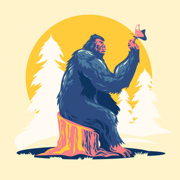 Walking Bigfoot or Sasquatch Play with Butterfly vector illustration