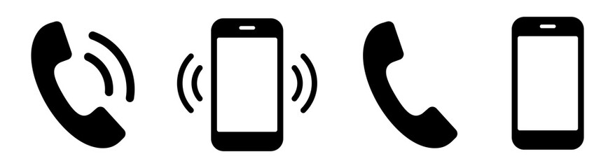 Fototapeta Ringing phone simple icon set. Smartphone ringing. Phone sign. Vector obraz