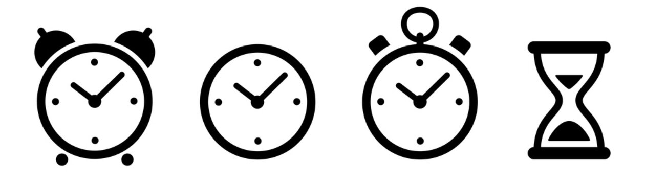 Clock icon. Time icons set. Stopwatch icon. Vector