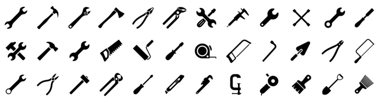 Tools icons set. Instruments signs collection. Tool simple icon. Vector illustration