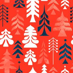 Christmas folk retro pine tree seamless pattern