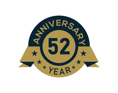 Gold 52 years anniversary badge with banner image, Anniversary logo with golden isolated on white background
