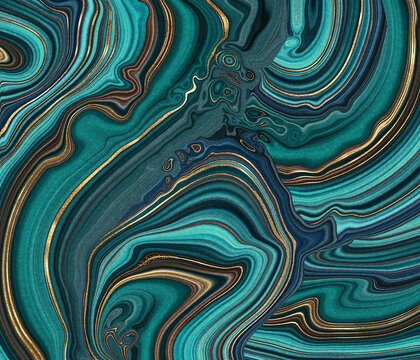 abstract malachite green background, fake agate with golden veins, painted artificial stone texture, marbled surface, digital marbling illustration