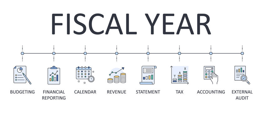 Fiscal year vector banner. Business finance company colored icons. Editable stroke. Tax calendar accounting external audit Financial reporting budgeting statement revenue