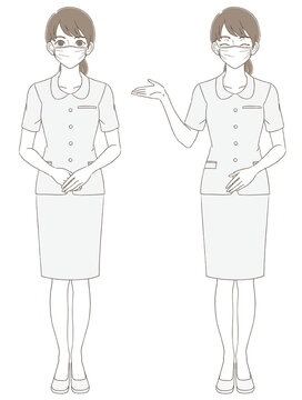 Medical / beauty hand-painted style full-body illustration facial expression set of a woman wearing a uniform and wearing a mask