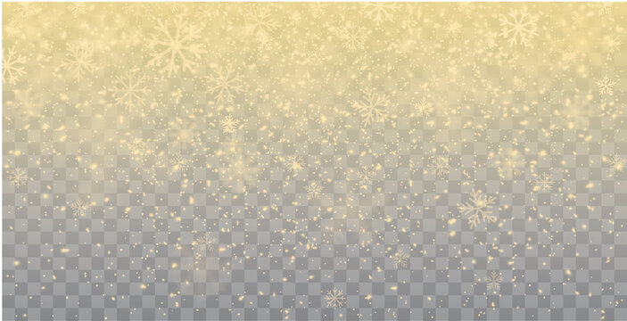 Seamless realistic falling gold snow or snowflakes. Isolated on transparent background - stock vector.
