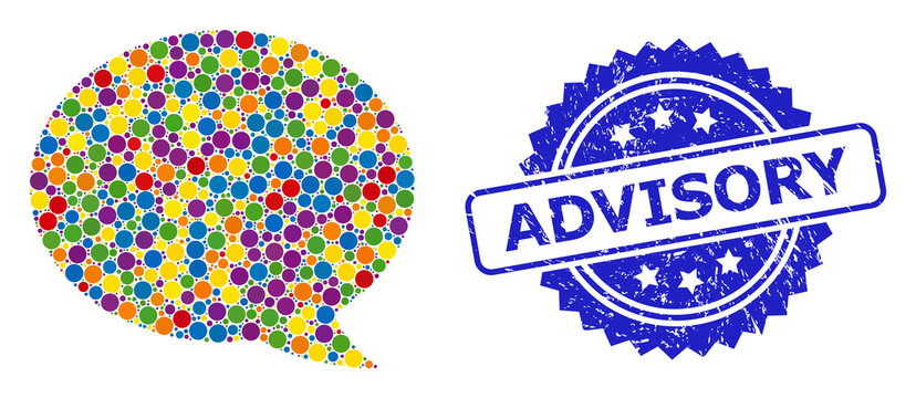 Textured Advisory Seal and Colorful Collage Message Cloud