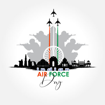 Vector illustration of Indian Air Force Day. vector
