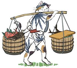 浮世絵風-猫の魚屋